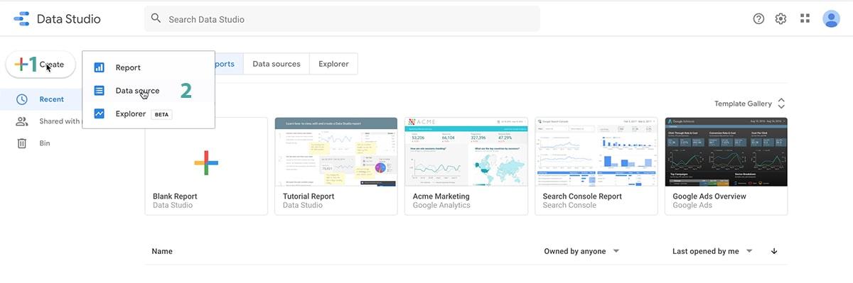 data studio create source
