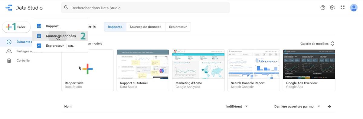 data studio creer source